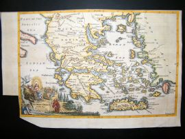 Ancient Greece with Islands C1750 Hand Col Antique Map